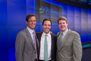 Zillow CEO Rascoff (C) with Co-founders Barton (L) and Frink (R)
